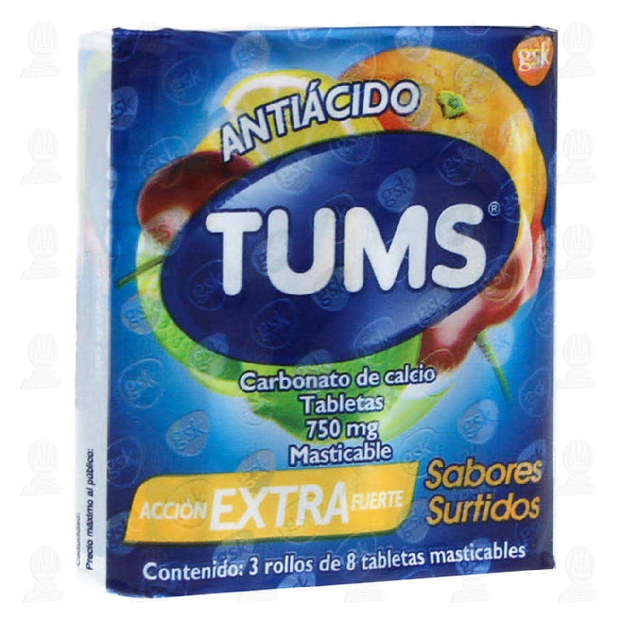 Comprar Tums Extra Surtido 3 Rollos C/8pzas en Farmacias Guadalajara