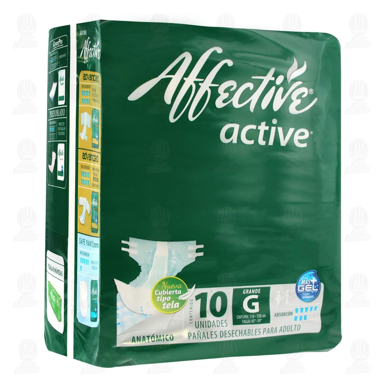 Pañal Affective Active Talla Grande, 10 pzas.