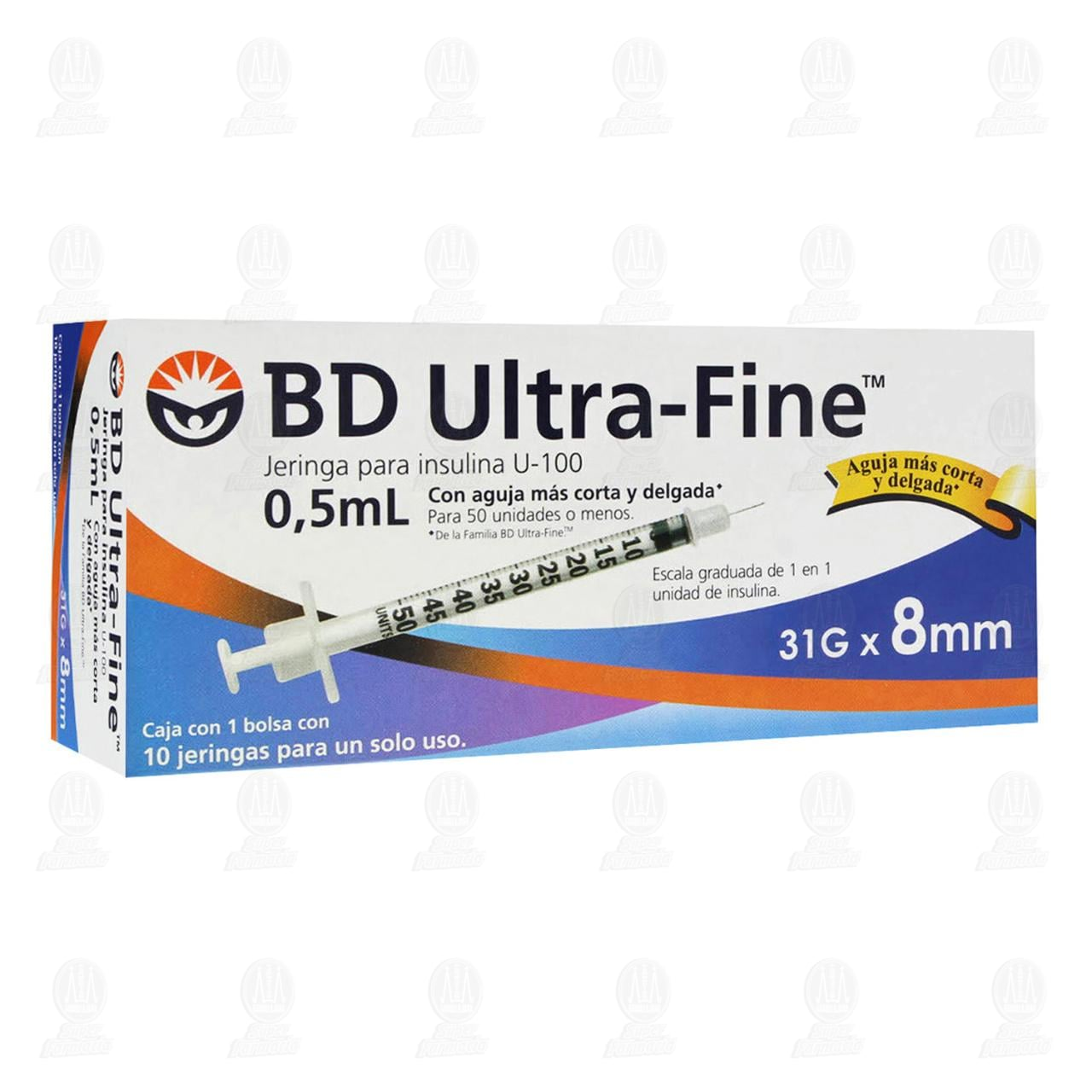 Jeringa BD Ultra Fine Insulina 0.5ml 31G x 8mm 10 Piezas