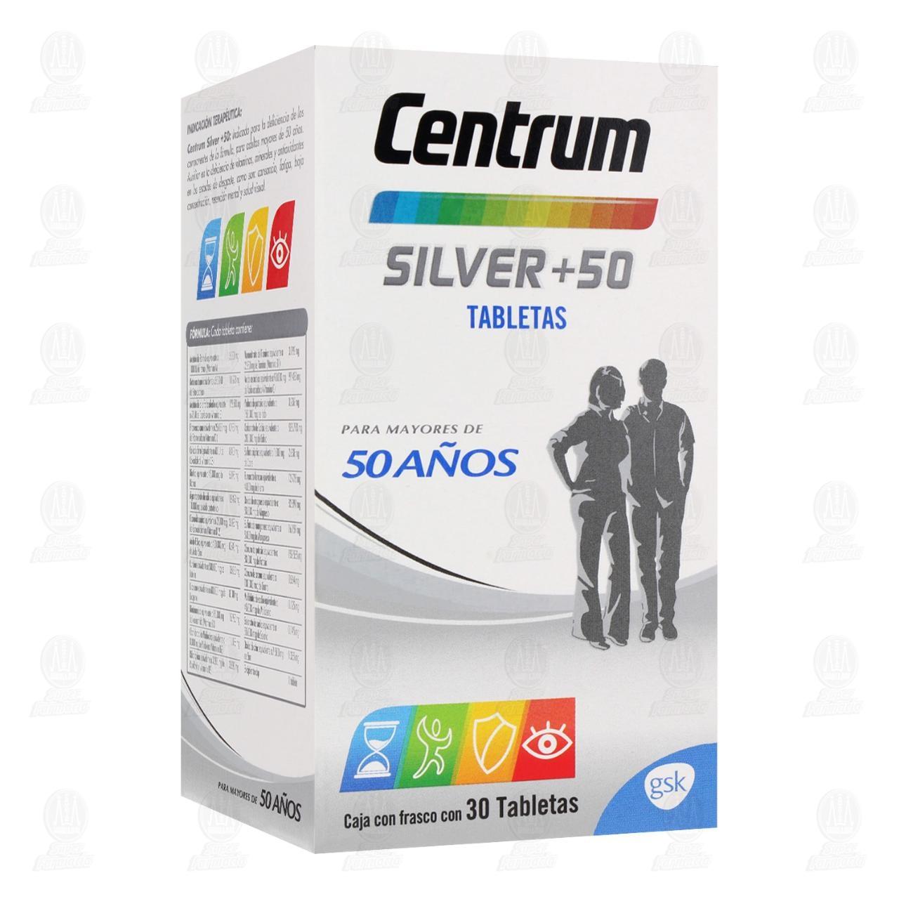 Comprar Centrum Silver +50 Multivitamínico 30 Tabletas en Farmacias Guadalajara