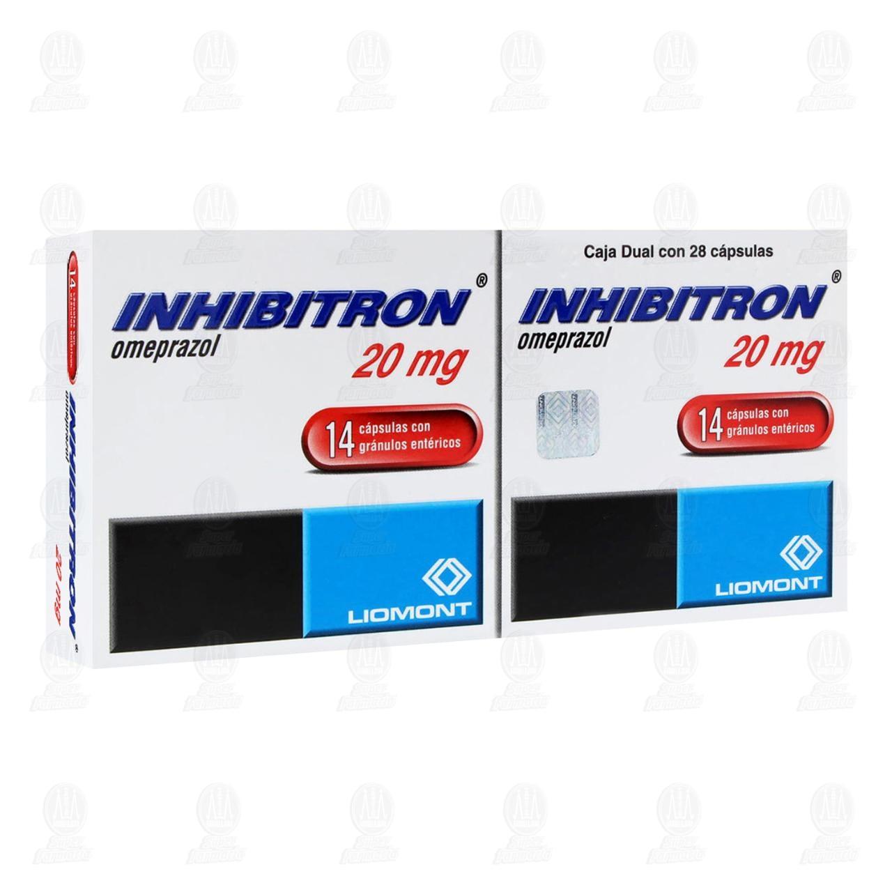 Comprar Inhibitron 20mg 2 Dual 14 Cápsulas C/U en Farmacias Guadalajara