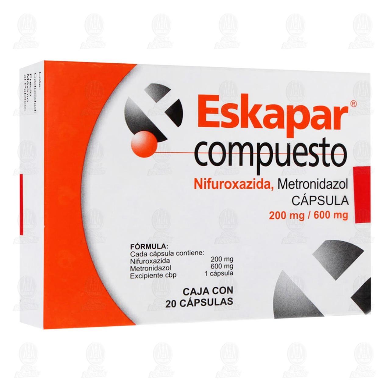 Comprar Eskapar Compuesto 200mg/600mg 20 Cápsulas en Farmacias Guadalajara