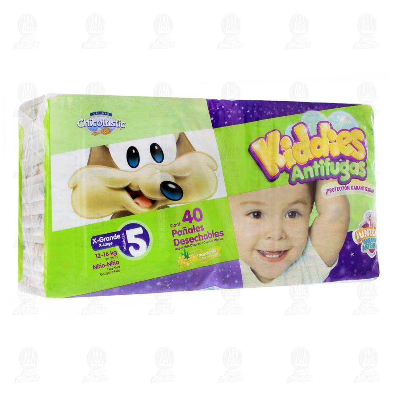 Pañales para Bebé Chicolastic Kiddies Antifugas Talla 5 XG, 40 pzas.