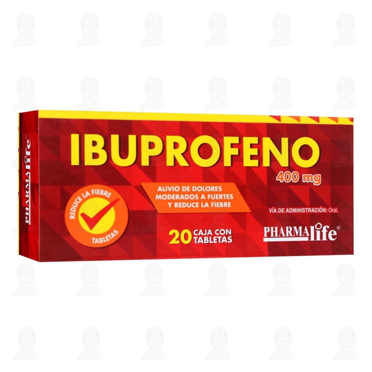 Comprar Ibuprofeno 400mg 20 Tabletas Pharmalife en Farmacias Guadalajara