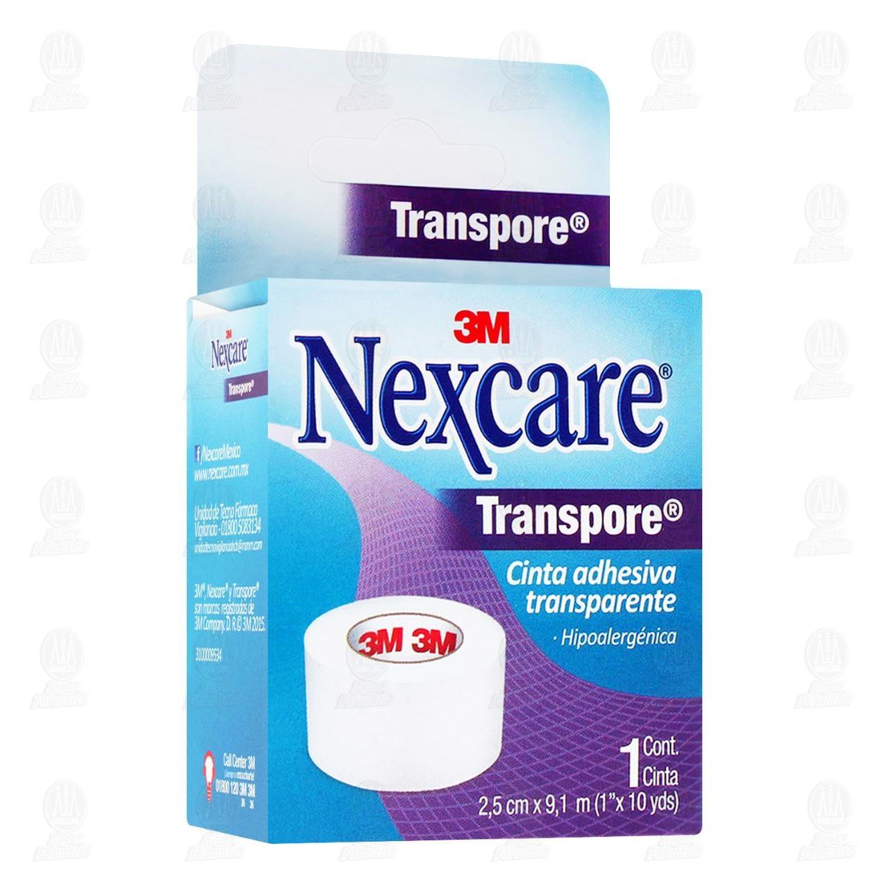 Comprar 3M Nexcare Cinta Adhesiva Transpore Transparente 2.5cm x 9.1m 1pz en Farmacias Guadalajara