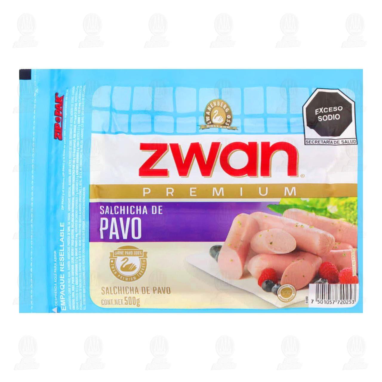 Salchicha Zwan Línea Premium de Pavo, 500 gr.