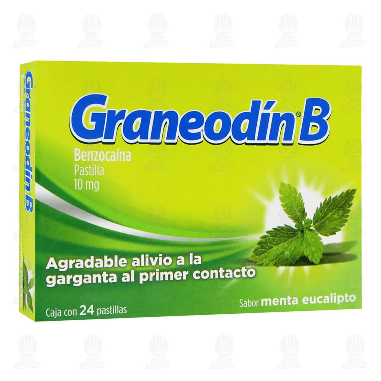 Comprar Graneodín B Sabor Menta Eucalipto 24 Pastillas en Farmacias Guadalajara