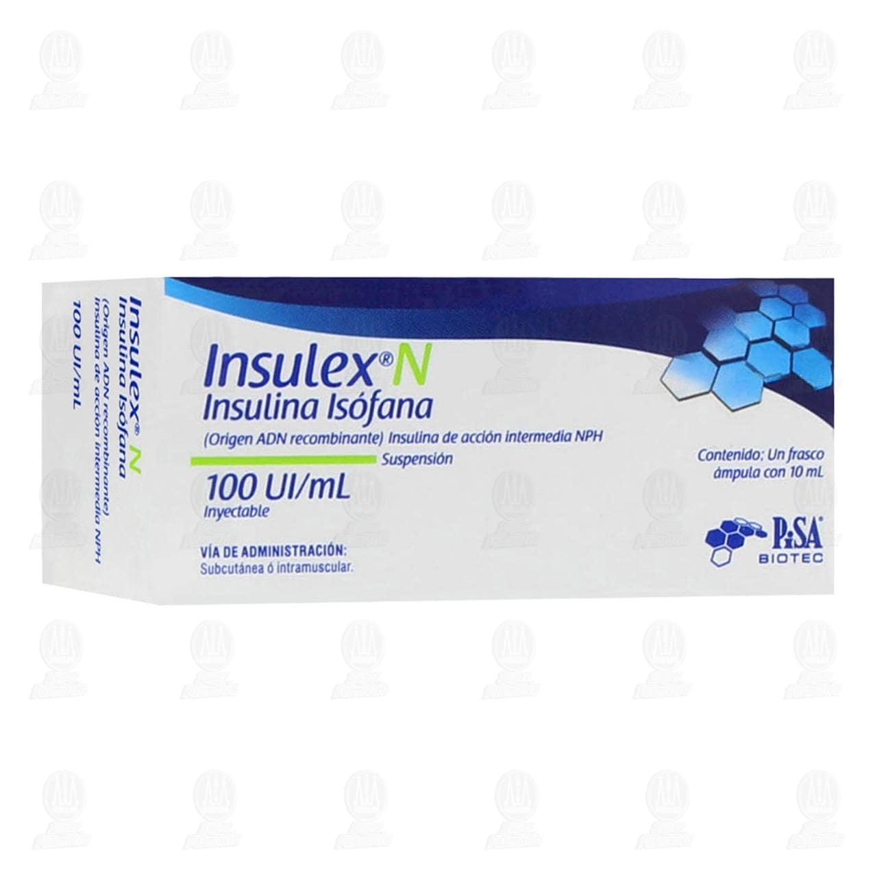 Comprar Insulex N 100ui/ml 1 Frasco Ámpula 10ml Suspensión Inyectable en Farmacias Guadalajara